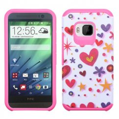 HTC One M9 Heart Graffiti White/Hot Pink Advanced Armor Case