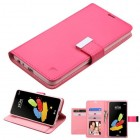 LG G Stylus 2 Hot Pink/Pink PU Leather Wallet with extra card slots