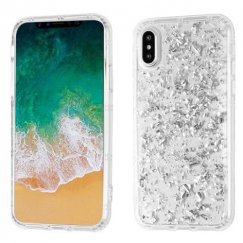 Apple iPhone X Silver Flakes (T-Clear) Krystal Gel Series Candy Skin Cover