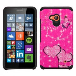 Nokia Lumia 640 Glittering Butterfly/Heart Hot Pink/Black Advanced Armor Case