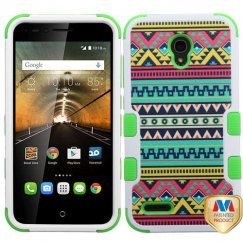 Alcatel One Touch Conquest Tribal Sun/Electric Green Hybrid Case
