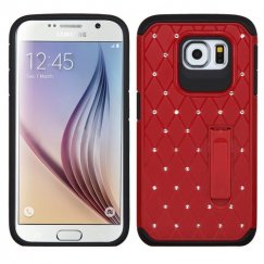 Samsung Galaxy S6 Red/Black Luxurious Lattice Elite Dazzling Stand Hybird Case with Diamonds
