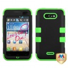 LG Motion 4G Rubberized Black/Electric Green Hybrid Phone Protector Cover