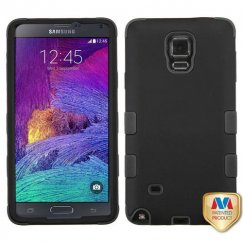 Samsung Galaxy Note 4 Rubberized Black/Black Hybrid Case