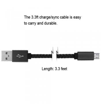 Black Micro USB USB Braided Leather Data Cable (with Aluminum Alloy Connector Encapsulation) 3.3FT