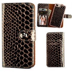 Apple iPhone 7 Plus Rose Gold Glossy Crocodile Skin Magnetic 2-in-1 Wallet TPU Case Leather Folio