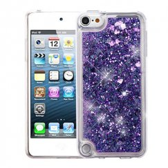 Apple iPod Touch (6th Generation) Hearts & Purple Quicksand Glitter Hybrid Case