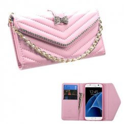 Samsung Galaxy S7 Pink Premium Quilted Wallet with Bracelet