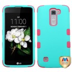 LG K7 Rubberized Teal Green/Electric Pink Hybrid Phone Protector Cover