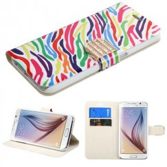 Samsung Galaxy S6 Colorful Zebra Wallet with Diamante Belt