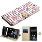 LG V20 Pink Fresh Roses Diamante Wallet with Diamante Belt