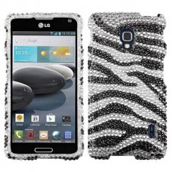 LG Optimus F6 Black Zebra Skin Diamante Case