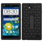 ZTE Grand X Max / Grand X Max Plus Black/Black Symbiosis Stand Case with Diamonds