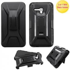 Alcatel One Touch Fierce XL Black/Black Advanced Armor Stand Case with Black Holster