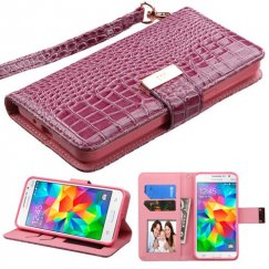 Samsung Galaxy Grand Prime Purple Crocodile-Embossed Wallet