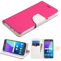 Samsung Galaxy J3 Hot Pink Pattern/White Liner wallet with card slot