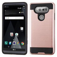 LG V20 Rose Gold/Black Brushed Hybrid Case
