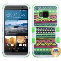 HTC One M9 Tribal Sun/Electric Green Hybrid Case