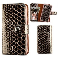 Apple iPhone X Rose Gold Glossy Crocodile Skin Magnetic 2-in-1 Wallet TPU Case Leather Folio