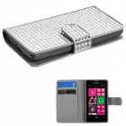 Nokia Lumia 521 Silver Diamonds Book-Style Wallet with Card Slot