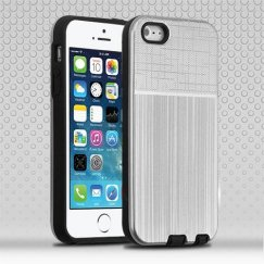 Apple iPhone 5/5s Silver Woven & Brushed/Black Hybrid Protector Cover