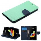 LG G Stylus 2 Teal Green Pattern/Dark Blue Liner wallet (with card slot)