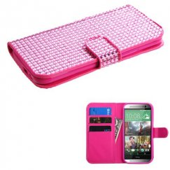 HTC One M8 Pink Diamonds Book-Style Wallet with Card Slot