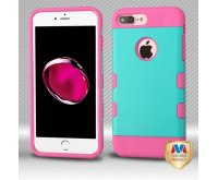 Apple iPhone 7 Plus Rubberized Teal Green/Electric Pink Hybrid Protector Cover