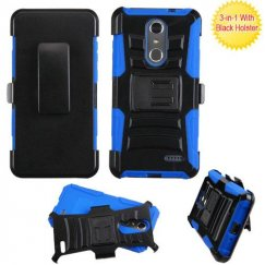 ZTE Grand X 4 Black/ Blue Advanced Armor Stand Case Combo with Black Holster