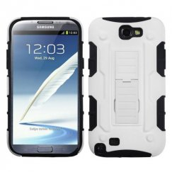 Samsung Galaxy Note 2 White/Black Car Armor Stand Case - Rubberized