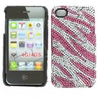 Apple iPhone 4/ 4S Full Diamond Crystal Couture Rhinestone Back Cover, Pink Zebra Stripes