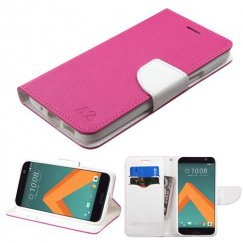 HTC 10 Hot Pink Pattern/White Liner wallet with Card Slot