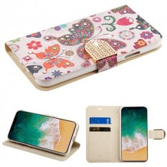 Apple iPhone X Butterfly Wonderland Diamante Wallet with Diamante Belt