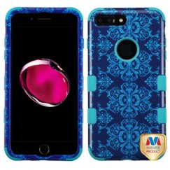 Apple iPhone 7 Plus Purple/Blue Damask/Tropical Teal Hybrid Case