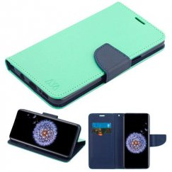 Samsung Galaxy S9 Plus Teal Green Pattern/Dark Blue Liner wallet with card slot