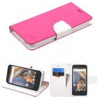 Coolpad Catalyst Hot Pink Pattern/White Liner wallet (with card slot)
