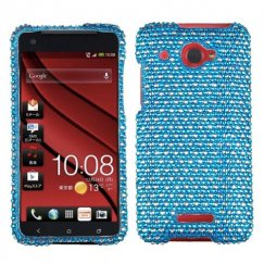 HTC Droid DNA Dots(Blue/white) Diamante Case