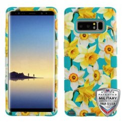 Samsung Galaxy Note 8 Spring Daffodils/Tropical Teal Hybrid Case Military Grade