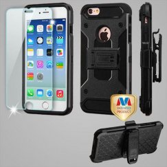 Apple iPhone 6/6s Black/Black 3-in-1 Case Combo with Black Holster with Tempered Glass Screen Protector