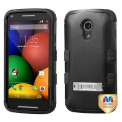 Motorola Moto G 2nd Gen Natural Black/Black Hybrid Case with Stand