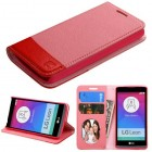 LG Leon H345 Pink/Red wallet with Card Slot