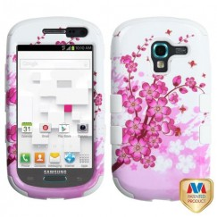Samsung Galaxy Exhibit Spring Flowers/Solid White Hybrid Case
