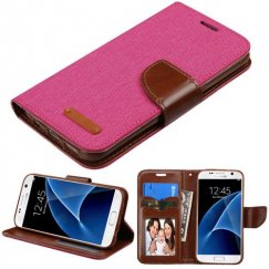 Samsung Galaxy S7 Hot Pink/BrownTPU wallet with Card Slot
