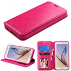 Samsung Galaxy S6 Hot Pink Wallet with Tray