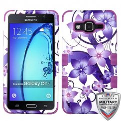 Samsung Galaxy On5 Purple Hibiscus Flower Romance/Electric Purple Hybrid Case