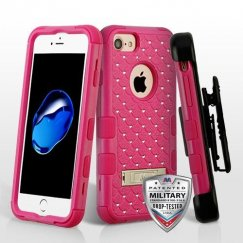Apple iPhone 8 Natural Hot Pink/Hot Pink Hybrid Case with Diamonds and Black Horizontal Holster