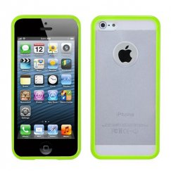 Apple iPhone 5c Transparent Clear/Solid Green Gummy Cover