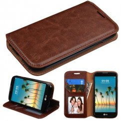 LG K3 Brown Wallet with Tray