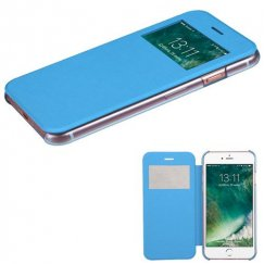 Apple iPhone 8 Sky Blue Silk Texture Wallet with Transparent Frosted Tray