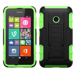 Nokia Lumia 530 Black/Electric Green Car Armor Stand Case - Rubberized